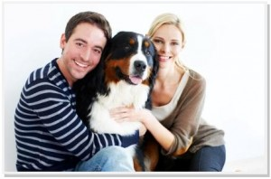 Couple with Mountain Dog