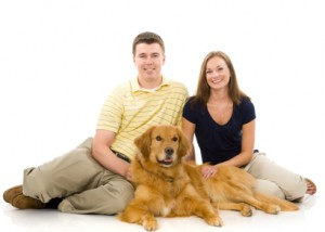 Attractive Young Couple with Dog